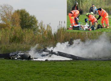 Elicottero militare precipita e prende fuoco