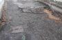 Pista ciclo pedonale lungo la Via Santarcangelese gravemente dissestata e pericolosa.